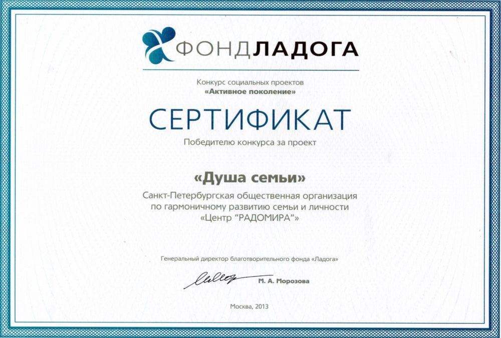 Сертификат Активное поколение 2013