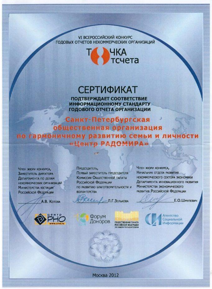 Сертификат Точка отсчета 2012
